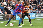Ayo Obileye of Dagenham and Redbridge  and Curtis Weston of Barnet during the Sky Bet League 2 match between Barnet and Dagenham and Redbridge at Hive Stadium, London, England on 26 September 2015. Photo by Ian Lyall.