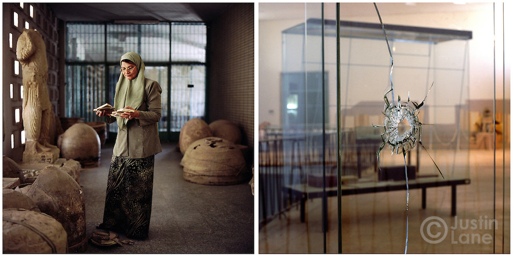 At left, the director of the Iraq Museum holds antiquties damaged by looters. At right, a bullet hole in a display case at the museum.