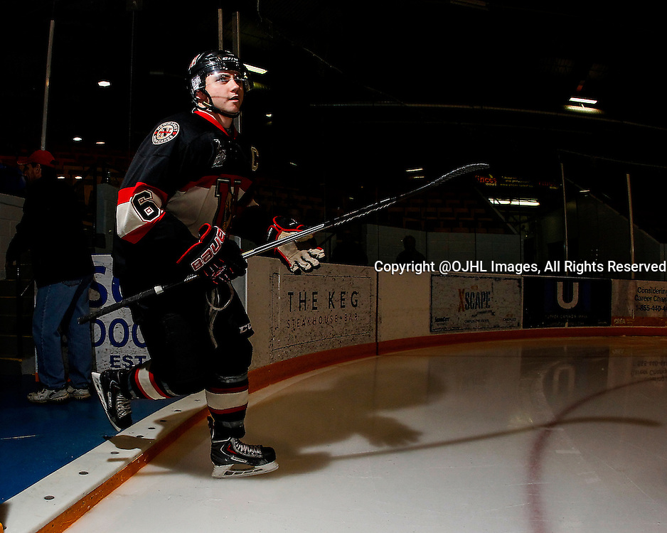 NEWMARKET, ON - Oct 15, 2015 : Ontario Junior Hockey League game action between Whitby and Newmarket, Curtis Harvey #6 during the pre-game warm-up.<br /> (Photo by Brian Watts / OJHL Images)