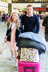 After their impulsive marriage on their first date in Las Vegas Sarah Elliot and Paul Edwards arrive back in the UK at Gatwick Airport, the place where they first met. Gatwick, December 30 2018.