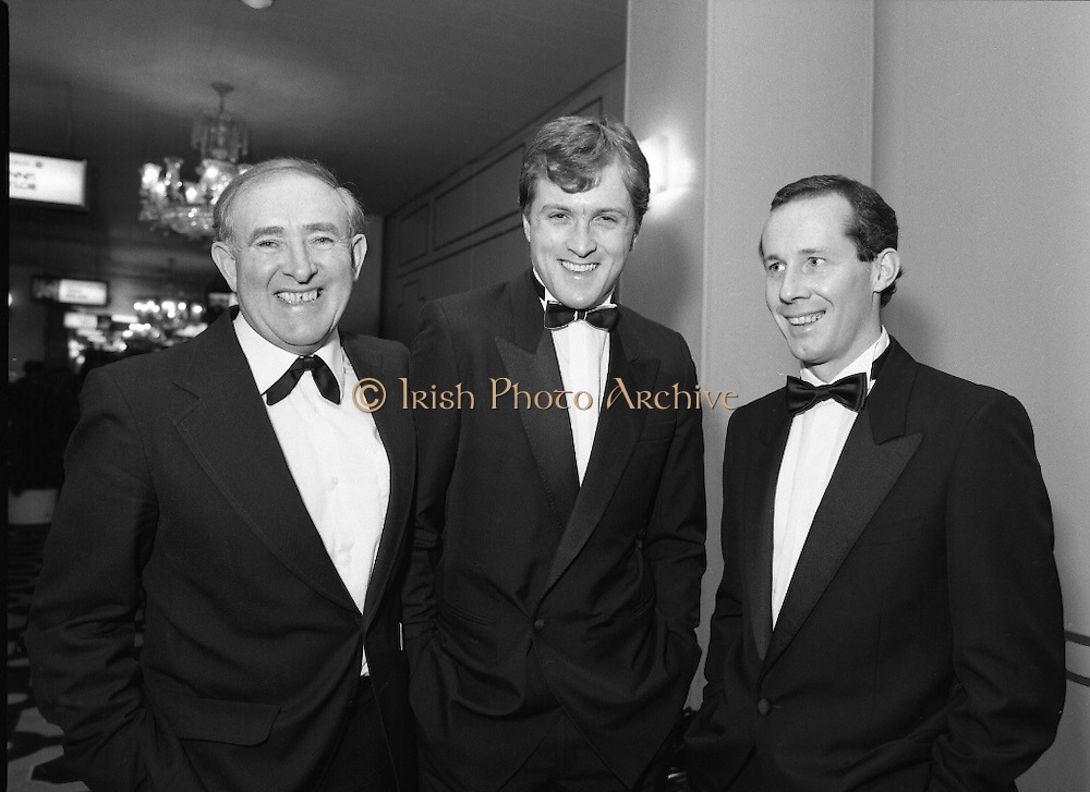30th Texaco Sportstars of The Year.  (R71)..1988..13.01.1988..01.13.1988..13th January 1988..The Annual Texaco Sportstars awards were held in The Burlington Hotel this evening.The awards were presented by An Taoiseach, Charles Haughey TD..The list of award winners was:.Athletics.           Frank O'Meara..Cycling.             Stephen Roche..Equestrian.        Comdt gerry Mullins..Gaelic football.  Brian Stafford..Golf.                  Eamon Darcy..Horse racing.     Pat Eddery..Hurling.             Joe Cooney..Rugby.               Hugo McNeill..Snooker.            Denis Taylor..Soccer.               Liam Brady..Hall of Fame.      Danny Blanchflower.  (Soccer)...Image shows Danny Blanchflower, Hugo McNeill and Liam Brady at the awards ceremony in the Burlington Hotel.