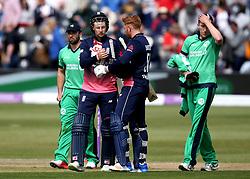 Joe Root of England and Jonny Bairstow of England celebrate winning the first ODI against Ireland - Mandatory by-line: Robbie Stephenson/JMP - 05/05/2017 - CRICKET - Brightside County Ground - Bristol, United Kingdom - England v Ireland - Royal London One Day Cup