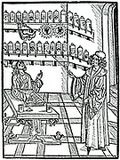The apothecary's shop. From Johannis de Cuba 'Ortus Sanitatis', Strasbourg, 1483