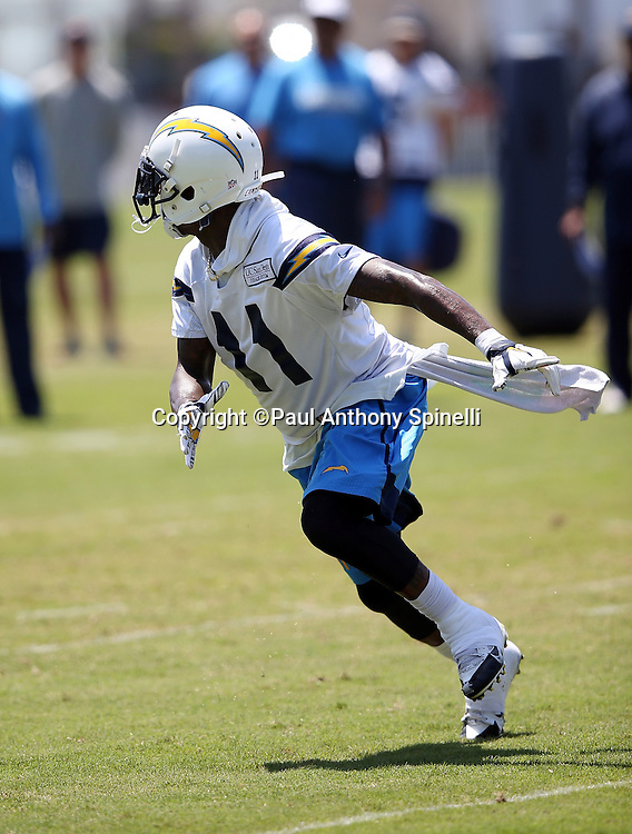 San Diego Chargers wide receiver Stevie Johnson (11) goes out for a pass during the San Diego Chargers Spring 2015 NFL minicamp practice on Wednesday, June 17, 2015 in San Diego. (©Paul Anthony Spinelli)