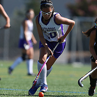 (Photograph by Bill Gerth for SVCN) Monta Vista #30 Estelle Yoo moves down field as Los Gatos #12 Sarah Sullivan tries to defend in a Girls Field Hockey Game at Monta Vista High School, Cupertino CA on 9/16/16.  (Los Gatos 10 Monta Vista 0)