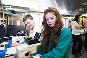 As part of the SEA FOR SOCIETY ocean awareness initiative pupils Rory Henry and Samatha Finn from Gael Scoil Uileog de Burca , Claremorris visited the Marine Institute's RV Celtic Explorer . Photo:Andrew Downes:XPOSURE