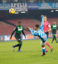 January 13, 2019 - Naples, Campania, Italy - Naples - Italy, 29 jannuary 2019 stadium San Paolo Napoli faces US Sassuolo for the Serie A championship.in the picture: the Napoli player Lorenzo Insigne  (Credit Image: © Fabio Sasso/Pacific Press via ZUMA Wire)
