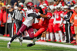 NORMAL, IL - October 13: Madre Harper intercepts a pass meant for Braxton Haley, but a flag cancels the catch during a college football game between the ISU (Illinois State University) Redbirds and the Southern Illinois Salukis on October 13 2018 at Hancock Stadium in Normal, IL. (Photo by Alan Look)
