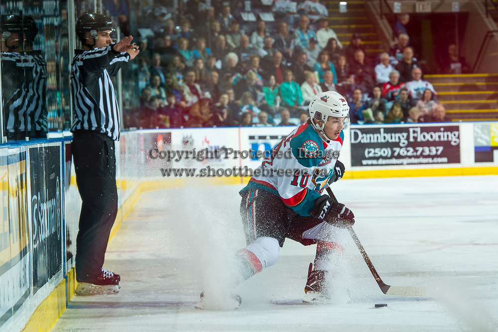 KELOWNA, CANADA - APRIL 8: Nick Merkley #10 of the Kelowna Rockets stops at the blue line with the puck against the Portland Winterhawks on April 8, 2017 at Prospera Place in Kelowna, British Columbia, Canada.  (Photo by Marissa Baecker/Shoot the Breeze)  *** Local Caption ***