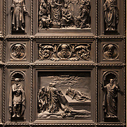 Detail of a door in St Isaac's Cathedral, in Saint Petersburg.  The cathedral built by French-born architect Auguste de Montferrand was to be the main church of the Russian Empire. The cathedral was under construction for 40 years (1818-1858)<br /> Photography by Jose More
