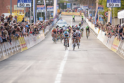 Arlenis Sierra & Coryn Rivera let out their sprint but only Uttrup Ludwig stays with them at Trofeo Alfredo Binda 2017. A 131 km road race on March 19th 2017, from Taino to Cittiglio, Italy. (Photo by Sean Robinson/Velofocus)