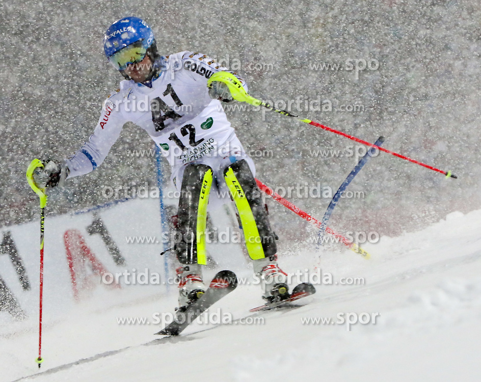 27.01.2015, Planai, Schladming, AUT, FIS Weltcup Ski Alpin, Nightrace, Slalom, Herren, 1. Durchgang, im Bild Markus Larsson (SWE) // Markus Larsson of Sweden in action during 1st run of mens slalom of the Schladming FIS Ski Alpine World Cup at the Planai course in Schladming, Austria on 2015/01/27. EXPA Pictures © 2015, PhotoCredit: EXPA/ Martin Huber