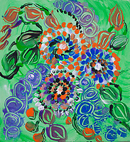 green meadow with flowers abstract painting: round concentric shapes and dots with bright colors on green background