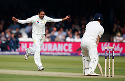 Pakistan's Mohammad Abbas celebrates taking the wicket of England's Dom Bess during day one of the First NatWest Test Series match at Lord's, London.