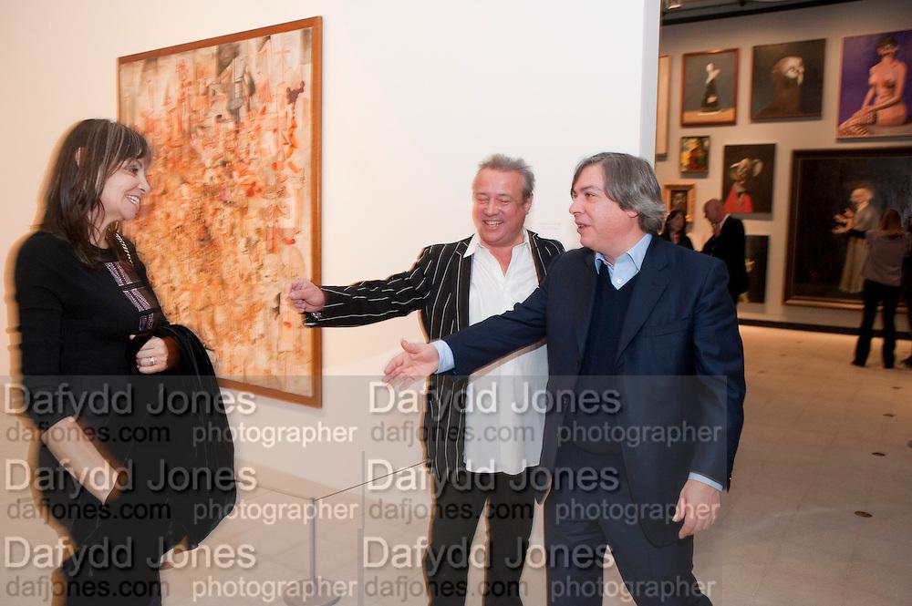 CAROLE SILLER; HAMISH MCALPINE; GEORGE CONDO; , George Condo: Mental States. Hayward Gallery. Southbank Rd. London. 17 October 2011. <br /> <br />  , -DO NOT ARCHIVE-&copy; Copyright Photograph by Dafydd Jones. 248 Clapham Rd. London SW9 0PZ. Tel 0207 820 0771. www.dafjones.com.