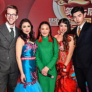 Presenter Isabella Carter,Yang Shuo,Joy Cheung,Richard Heathcote at the 7th 2019 Chinese New Year Extravaganza showcasing more than 300 performers including musical Chinese dance , Taiji ,Kungfu,magic face change and much more at Logan Hall. The performance from more than 20 arts groups from China and UK on 2nd Febuary 2019, London, UK.