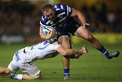 Bath Rugby Tom Dunn is tackled by Exeter Chiefs' Matt Kvesic during the Gallagher Premiership match at the Recreation Ground, Bath.