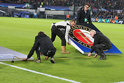 Precision, line, meter, uefa, measure during the UEFA Champions League group F match between Feyenoord Rotterdam and Manchester City at the Kuip on September 13, 2017 in Rotterdam, The Netherlands