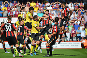 Aston Villa's Rudy Gestede scores during the Barclays Premier League match between Bournemouth and Aston Villa at the Goldsands Stadium, Bournemouth, England on 8 August 2015. Photo by Mark Davies.