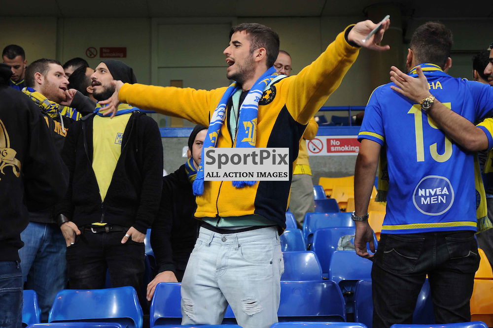 Maccabi Tel-Aviv fans before the Chelsea v Maccabi Tel-Aviv champions league match in the group stage.