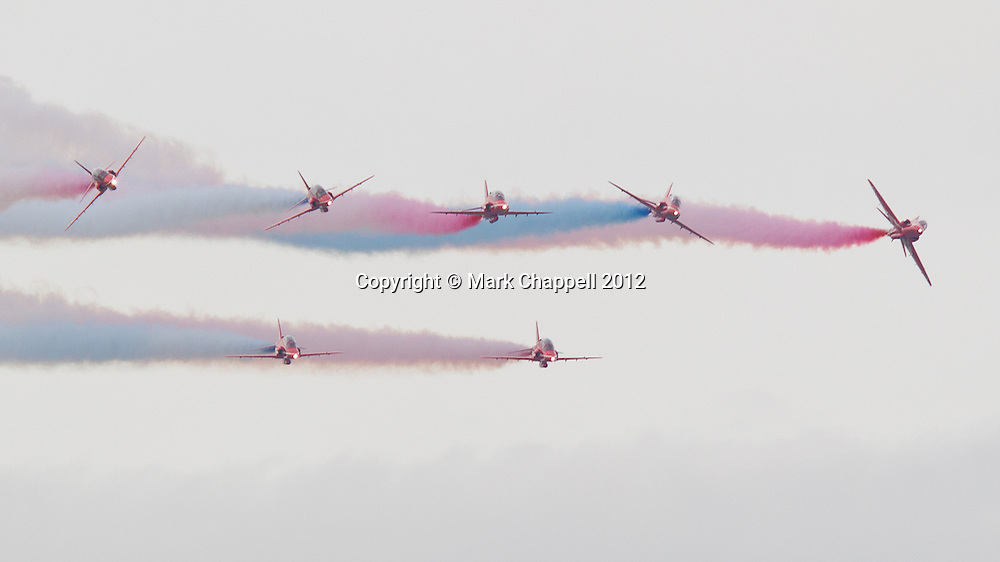 Red Arrows display at the Cotswold Air Show/Best of Britain Show.Cirencester, UNITED KINGDOM. August 26 2012..Photo Credit: Mark Chappell.© Mark Chappell 2012. All Rights Reserved. See instructions.
