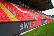 General view inside St James Park stadium of the new Stagecoach Adam Stansfield stand with Sky Bet advetising on the electonic boards before the EFL Sky Bet League 2 match between Exeter City and Grimsby Town FC at St James' Park, Exeter, England on 29 December 2018.