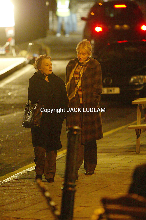 CATE BLANCHETT AND DAME JUDY DENCH IN ROLL ON SET OF MOVIE NOTES ON A SCANDAL  IN LONDON. CLERKENWELL High Quality Prints please enquire via contact Page. Rights Managed Downloads available for Press and Media