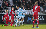 FODBOLD: Mikkel Basse (FC Helsingør) tackles af Andreas Oggesen (FC Fredericia) under kampen i NordicBet Ligaen mellem FC Fredericia og FC Helsingør den 10. marts 2019 på Monjasa Park i Fredericia. Foto: Claus Birch