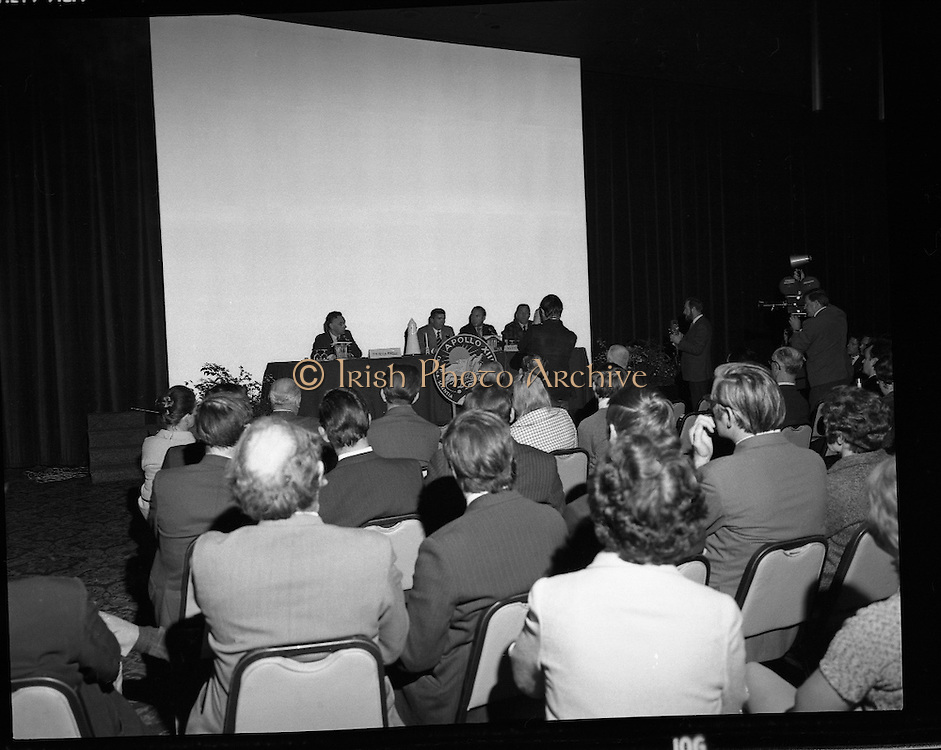 American Astronauts visit Dublin.<br /> 1970.<br /> 13.10.1970.<br /> 10.13.1970.<br /> 13th October 1970.<br /> The Astronauts of the Apollo 13 moon mission visited Ireland as part of a European tour. James Lovell, John Swigert and Fred Haise were on a planned landing on the lunar surface ,when two day after blast off on 11 April 1970 an explosion aboard the craft resulted in one of the most amazing missions in the Apollo series. The explosion placed the crew in severe danger and it was only through much skill and courage that the astronauts managed to make emergency repairs to enable them to return home. Up until they returned on 17th April the world held its breath as the astronauts fought their way back to Earth.<br /> <br /> Image of some of the audience who attended the Apollo 13 press conference at the Intercontinental Hotel ,Ballsbridge, Dublin.