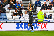 Tom Lawrence of Derby County (10) scores a goal and celebrates to make the score 0-1 during the EFL Sky Bet Championship match between Huddersfield Town and Derby County at the John Smiths Stadium, Huddersfield, England on 5 August 2019.