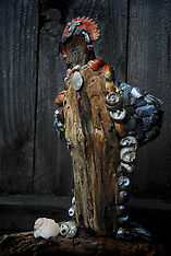 California Coastal Wood and Shell Sculptures