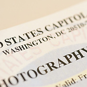 A close-up of part of a photography permit issued by the US Capitol Police in Washington DC for filming and photography on the grounds of the US Capitol Building.