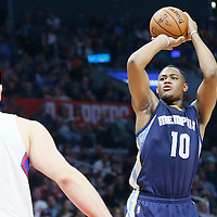 12 April 2016: Memphis Grizzlies forward Jarell Martin (10) takes a jump shot over Los Angeles Clippers center Cole Aldrich (45) during the Los Angeles Clippers 110-84 victory over the Memphis Grizzlies, at the Staples Center, Los Angeles, California, USA.