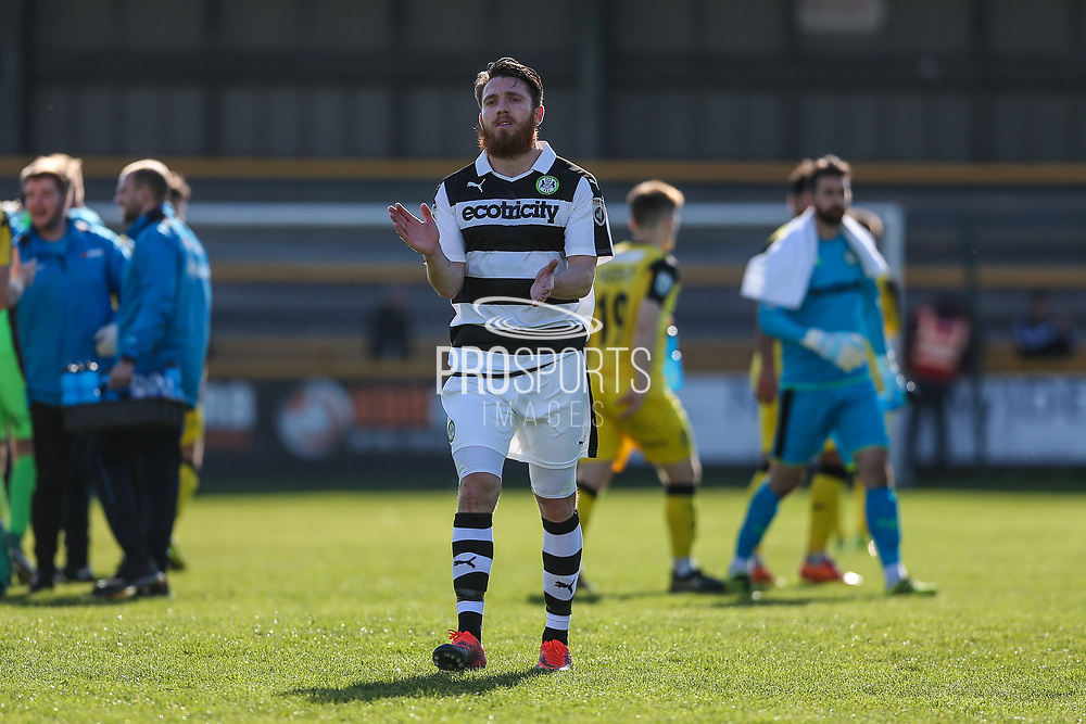 Forest Green Rovers Sam Wedgbury(8) applauds the fans at the end of the match during the Vanarama National League match between Southport and Forest Green Rovers at the Merseyrail Community Stadium, Southport, United Kingdom on 17 April 2017. Photo by Shane Healey.