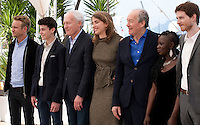 Jeremie Renier, Louka Minnella, director Jean-Pierre Dardenne, actress Adele Haenel, director Luc Dardenne, actors Nadege Ouedraogo and Olivier Bonnaud at The Unknown Girl (La Fille Inconnue)  film photo call at the 69th Cannes Film Festival Wednesday 18th May 2016, Cannes, France. Photography: Doreen Kennedy