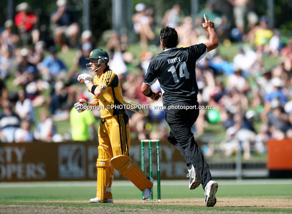 Daryl Tuffey celebrates the wicket of Michael Clarke.  New Zealand Black Caps v Australia. 1st ODI, Chappell-Hadlee Trophy Series. McLean Park, Napier. Wednesday 03 March 2010  Photo: John Cowpland/PHOTOSPORT