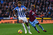 Philip Billing of Huddersfield Town (8) gets in front of Pedro Obiang of West Ham United (14) during the Premier League match between Huddersfield Town and West Ham United at the John Smiths Stadium, Huddersfield, England on 10 November 2018.