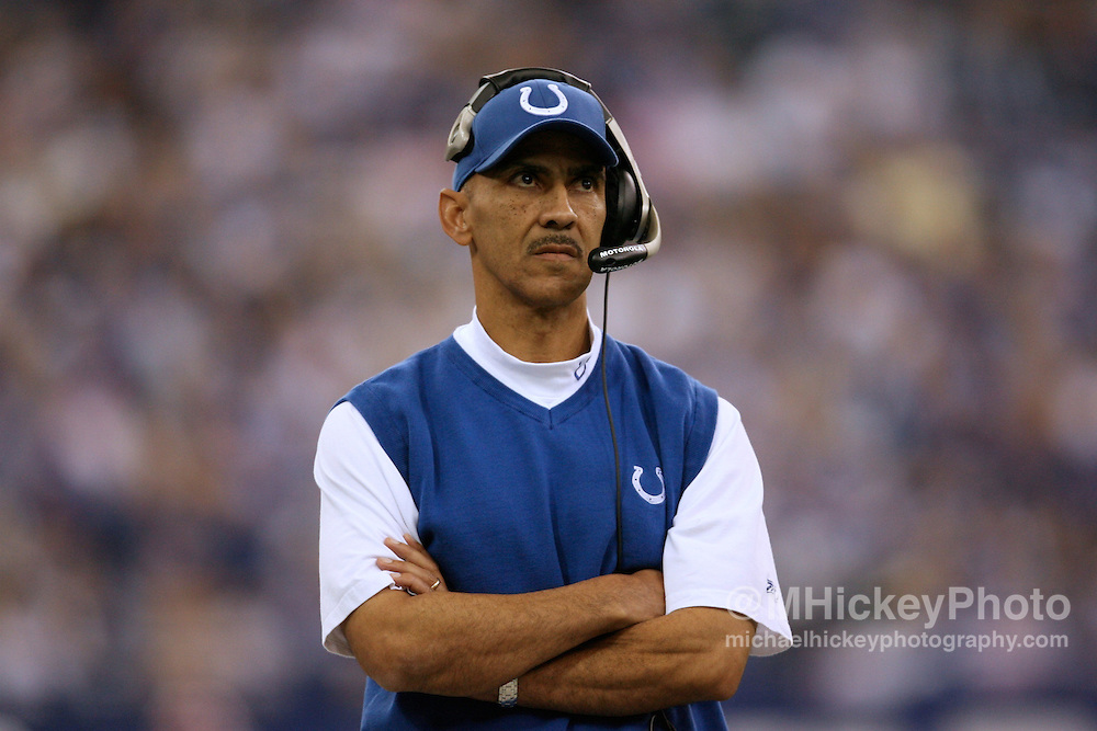 WireImage #11385572--Indianapolis head coach Tony Dungy seen from the sidelines during action against Buffalo at the RCA Dome in Indianapolis, Indiana on November 12, 2006.
