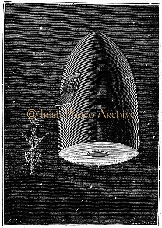 Body of the pet dog 'buried' in space following the space capsule in free fall towards the Moon.  From Jules Verne 'Autour de la Lune', Paris, 1865. Wood engraving.
