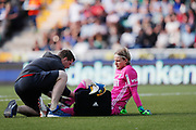SUNDSVALL, SWEDEN - MAY 19: William Eskelinen of GIF Sundsvall injured during the Allsvenskan match between GIF Sundsvall and Ostersunds FK at Idrottsparken on May 19, 2018 in Sundsvall, Sweden. Photo: Nils Petter Nilsson/Ombrello ***BETALBILD***