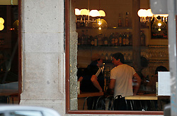 Javier and Carlos Bardem eat together in Madrid, Spain, October 2, 2012. Photo by JosÈ Luis DueÒas Gamez /Sevenpixnews / i-Images..SPAIN OUT