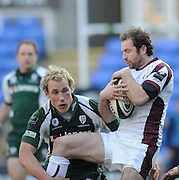 Reading, GREAT BRITAIN, Geordan MURPHY collects the high ball,  Exile scrum half HICKEY tackles, during the Guinness Premiership match, London Irish vs Leicester Tigers, played at the Madejski Stadium, on Sun. 17th Feb 2008.  [Mandatory Credit, Peter Spurrier/Intersport-images]