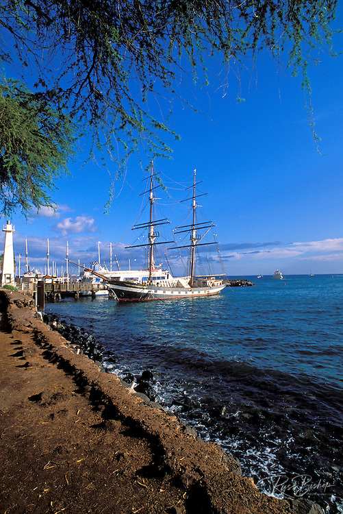 Afternoon light on the Carthaginian whaling ship and lighthouse at the entrance to Lahaina Harbor, Lahaina, Maui, Hawaii