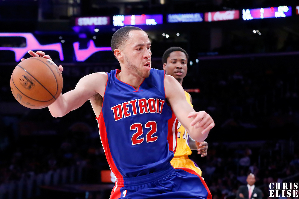 10 March 2015: Detroit Pistons forward Tayshaun Prince (22) dribbles during the Los Angeles Lakers 93-85 victory over the Detroit Pistons, at the Staples Center, Los Angeles, California, USA.