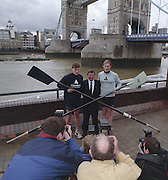 London. United Kingdom. Aberdeen Asset Management, announce, they are to sponsor the Annual Varsity Boat Race - between Oxford University BC and Cambridge University BC. at Tower Bridge. [Mandatory CreditPeter Spurrier/Intersport-images]  25.11.1999..People: Cambridge President, Brad CROMBIE, Oxford President Charlie HUMPHRIES, Martin GILBERT,  Chief Executive Aberdeen Asset Management, and Boat race Representative Duncan CLEGG Boat Race Organiser. ..Rowing Varsity 2012 011042.jpg..Scanned in 2012 so has 2012 file No.