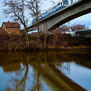 Link Light Rail crosses the Green River as it travels between downtown Seattle and Sea Tac International Airport