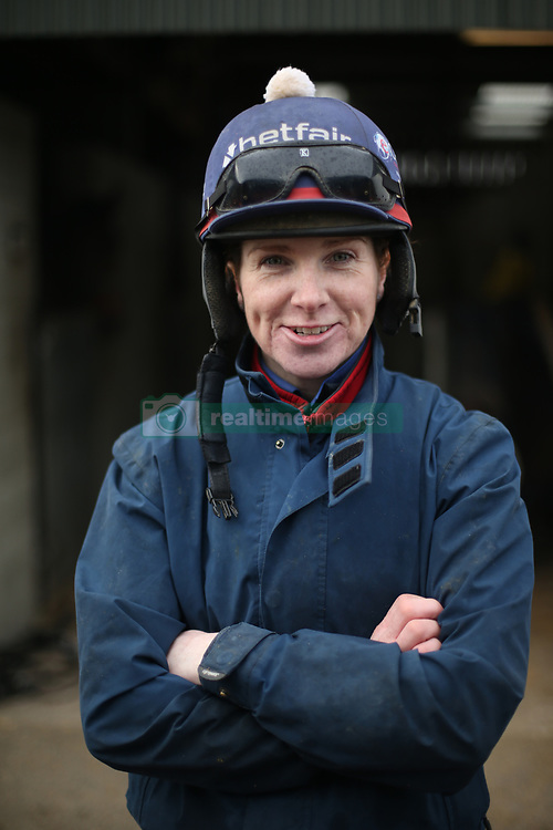 Jockey Lisa O'Neill during the stable visit to Gordon Elliott's yard at Cullentra House, County Meath.