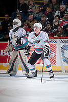 KELOWNA, CANADA - JANUARY 29: Michael Herringer #30 and Cal Foote #25 of Kelowna Rockets stands in front of the net against the Portland Winterhawks on January 29, 2016 at Prospera Place in Kelowna, British Columbia, Canada.  (Photo by Marissa Baecker/Shoot the Breeze)  *** Local Caption *** Michael Herringer; Cal Foote;