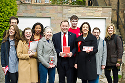 Pictured: Ian Murray and Kezia Dugdale in the traditional group shot<br /> <br /> Scottish Labour's Ian Murray and Scottish Labour leader Kezia Dugdale hit the general election campaign trail in Edinburgh today for the first campaign event of Mr Murray's re-election campaign for the Edinburgh South constituency.<br /> Ger Harley | EEm 21 April 2017