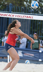 April 6, 2018 - Tucson, AZ, U.S. - TUCSON, AZ - APRIL 06: Arizona Wildcats defender Sara Watanabe (44) hits the ball during a college beach volleyball match between the Arizona State Sun Devils and the Arizona Wildcats on April 06, 2018, at Bear Down Beach in Tucson, AZ. Arizona defeated Arizona State 4-1. (Photo by Jacob Snow/Icon Sportswire (Credit Image: © Jacob Snow/Icon SMI via ZUMA Press)